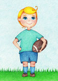 Hands drawn illustration of boy American Football player by the color pencils. Character design. Creative people professions collection Royalty Free Stock Photo