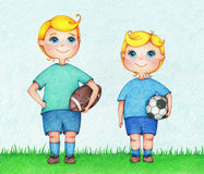 Hands drawn illustration of two boys American and European Football players. By the color pencils. Character design. Creative people professions collection Royalty Free Stock Image