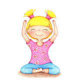 Hands drawn illustration of young smiling girl in pink t-shirt and blue shorts doing yoga by the color pencils Royalty Free Stock Photos