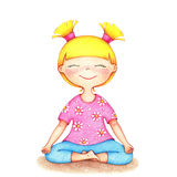 Hands drawn illustration of young smiling girl in pink t-shirt and blue shorts doing yoga by the color pencils Royalty Free Stock Images