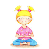 Hands drawn illustration of young smiling girl in pink t-shirt Royalty Free Stock Photo