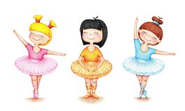 Hands drawn picture of three ballet dancers vector illustration