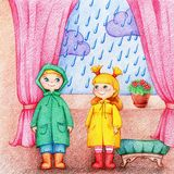 Hands drawn picture of two adorable children in raincoat and rubber knee boots stand in a room near window royalty free illustration