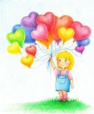 Hands drawn picture of young girl with colorful balloons. By the color pencils stock illustration