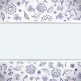 Hands drawn sketchy floral doodles background Stock Image