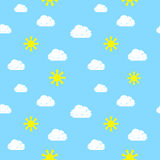 Hands Drawn Sky Seamless Pattern Stock Images