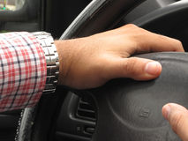 Hands of driver playing the horn Royalty Free Stock Photos