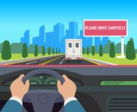 Hands driving car. Auto inside dashboard driver speed road overtaking street traffic travel billboard flat illustration. Hands driving car. Auto inside dashboard royalty free illustration