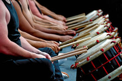 Hands, drum sticks and drums Royalty Free Stock Images