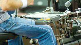 Hands drummer play by drumsticks Royalty Free Stock Photos