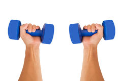 Hands with dumbbells. Royalty Free Stock Image