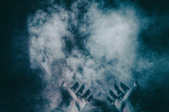 Hands on dust. Fine art lights Royalty Free Stock Image