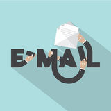 Hands With E-mail Typography Design. Stock Photography