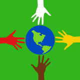 Hands with earth. Race hands with the Earth Royalty Free Stock Photos