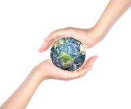 Hands with earth Stock Image