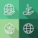 Hands with earth and plant, ecology flat icons set Stock Photos