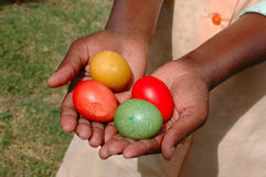 Hands with Easter eggs Royalty Free Stock Photography