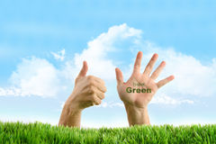 Hands with eco friendly sign Royalty Free Stock Image