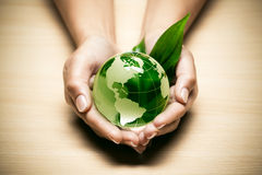 Hands with eco World globe. Hands with green eco World globe and leaf royalty free stock image