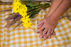 Hands of elderly couple. Royalty Free Stock Photography