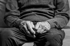 Hands of elderly man royalty free stock photo