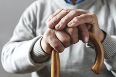 Hands of an elderly man resting on a walking cane royalty free stock photo
