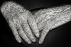Hands of an elderly person Stock Photo