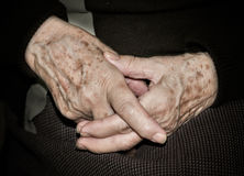 Hands of elderly person. Detail of the hands of an elderly person stock image