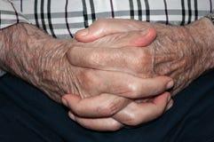 Hands of elderly person Stock Photo