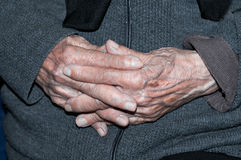 Hands of elderly person Royalty Free Stock Photography