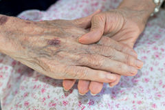 Hands of elderly person Royalty Free Stock Photos