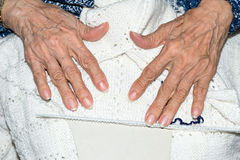 Hands of elderly person Stock Images