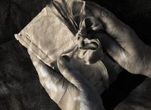 Hands of an elderly person.image of an older lady. Dementia,desperation,psychology stock photo