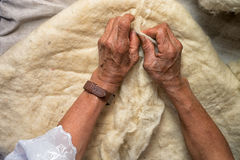 Hands of an elderly quechua woman. April 21, 2017 Iluman, Ecuador: hands of an elderly quechua woman preparing natural sheep wool for artisan hat manufacturing stock images