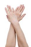 Hands of an elderly woman Stock Photos