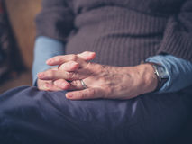 Hands of elderly woman Stock Photos