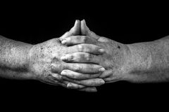 Hands of Eldery Woman, Concept of retirement, Black and White Ph Royalty Free Stock Image