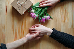 Hands and embrace Valentine`s Day Stock Photo