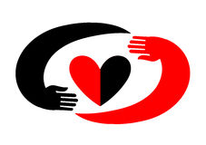 Hands embracing a heart. Original icon with black and red design. A symbol of love in the style of flat. Will be useful for decoration, as a logo, as an element Stock Image
