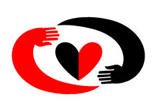 Hands embracing a heart. The original icon with black and red design. Royalty Free Stock Photo