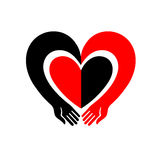 Hands embracing a heart. The original icon with black and red design. Stock Images