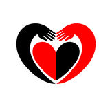 Hands embracing a heart. Original icon with black and red design. Royalty Free Stock Photos