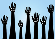 Hands emoticon vector, hands feeling, raise the hands Stock Images