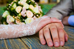 Hands enamoured. Two enamoured-man and the woman keep for hands stock photo