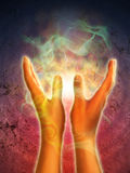 Hands energy. Mystical energy generating from open hands. Digital illustration Royalty Free Stock Photo