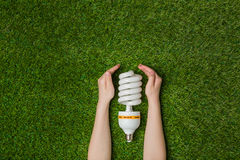 Hands with energy saving eco lamp over grass Royalty Free Stock Photo
