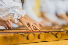 Hands on Ethnic instrument Stock Photography