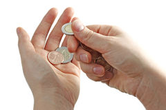 Hands with euro coins Royalty Free Stock Image