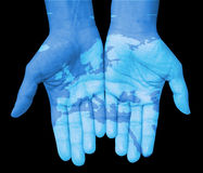 Hands with Europe, map of Europe drawn Stock Photography