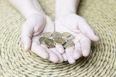 Hands with European currencies Royalty Free Stock Photo